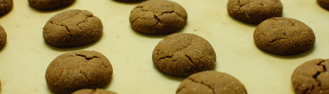 Chewy Ginger Cookies - out of the oven