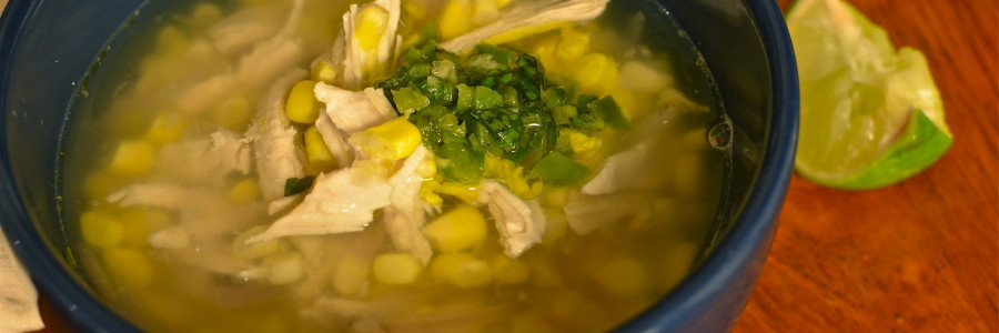 Chicken and Corn Soup with Herb Jalepeno Salsa