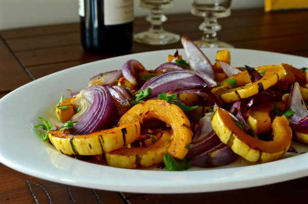 Roasted Red Onion and Delicata Squash